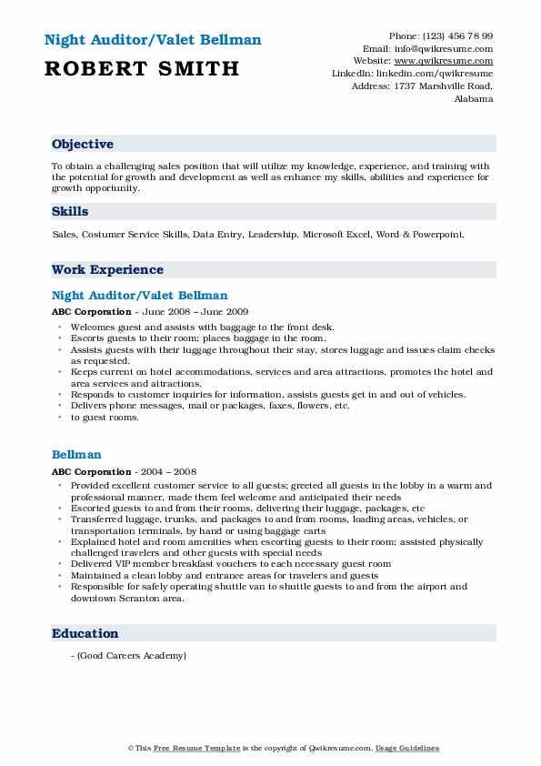 Night Auditor/Valet Bellman Resume Format