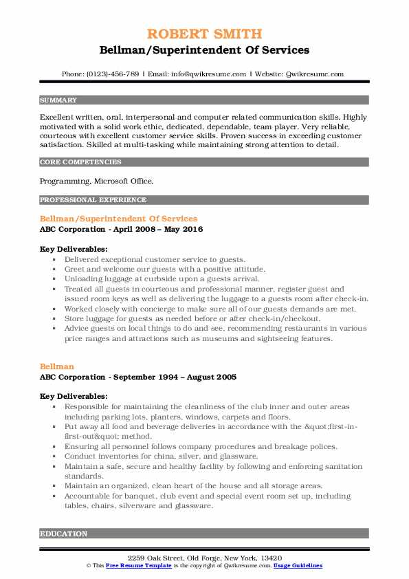 Bellman/Superintendent Of Services Resume Example