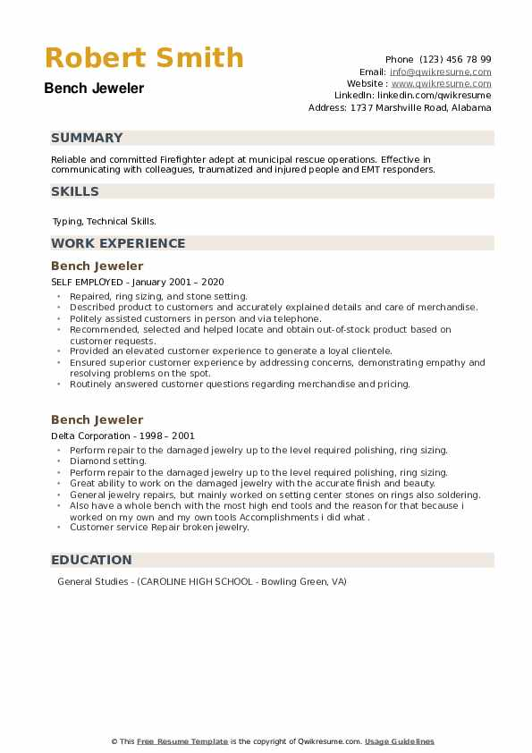 Bench Jeweler Resume example