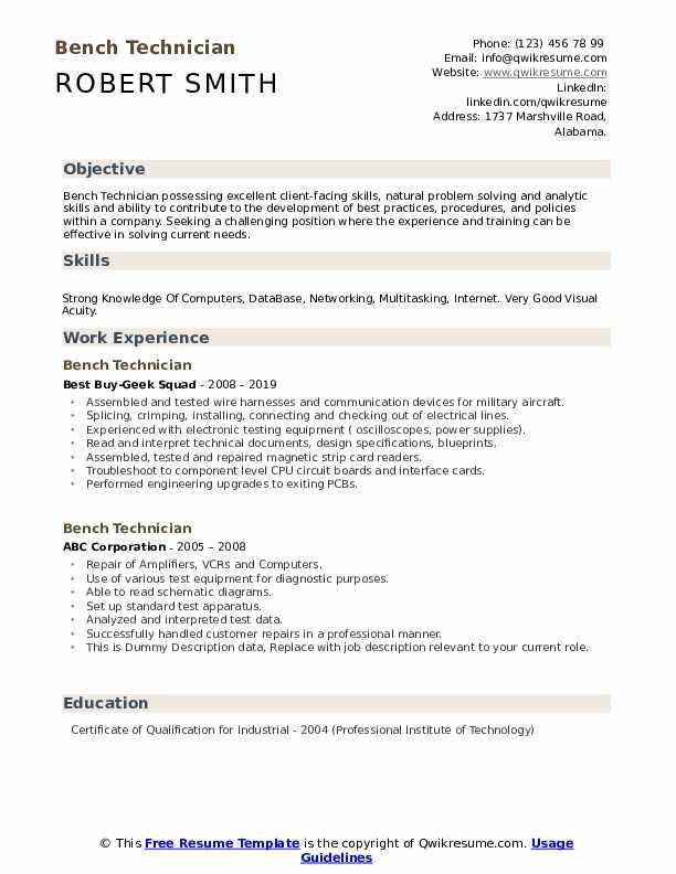 Bench Technician Resume example