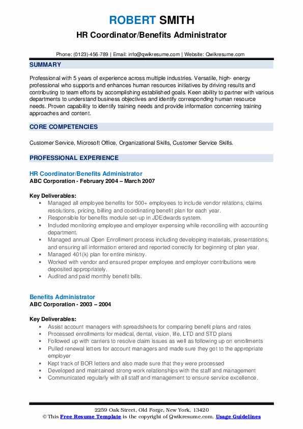 HR Coordinator/Benefits Administrator Resume Model