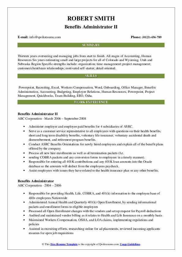 Benefits Administrator II Resume Sample
