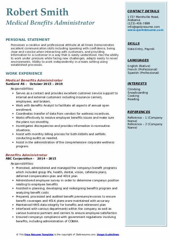benefits administrator resume samples