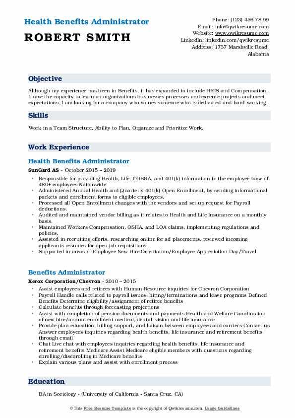 Health Benefits Administrator Resume Format