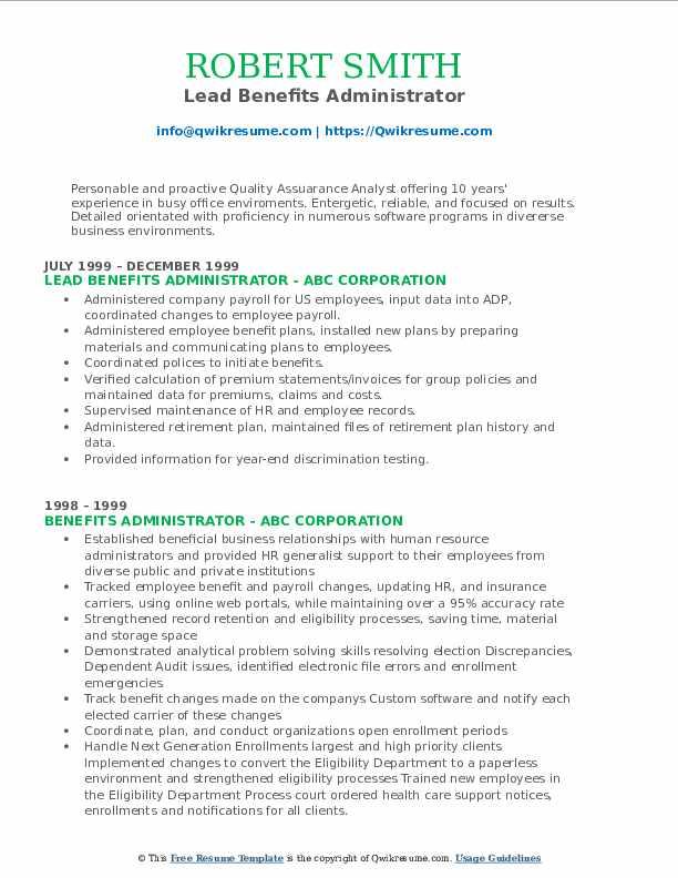 Lead Benefits Administrator Resume Sample