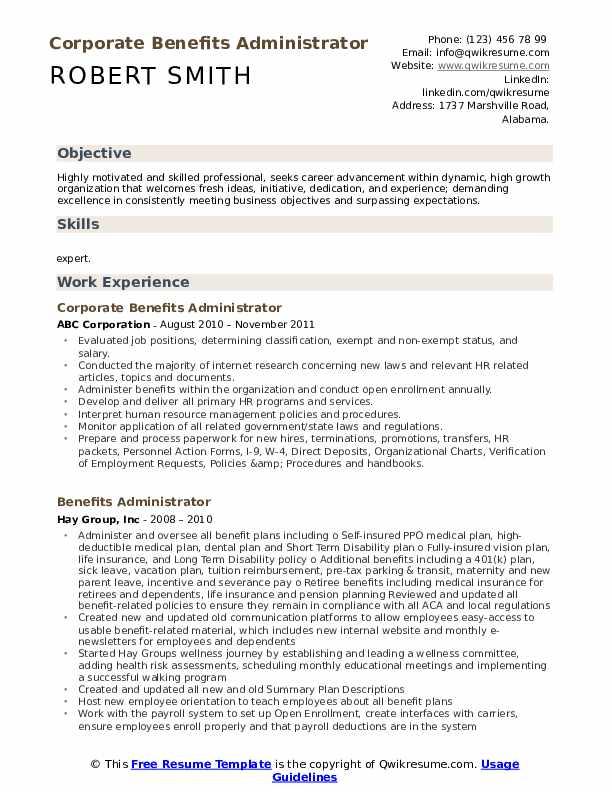 Corporate Benefits Administrator Resume Format