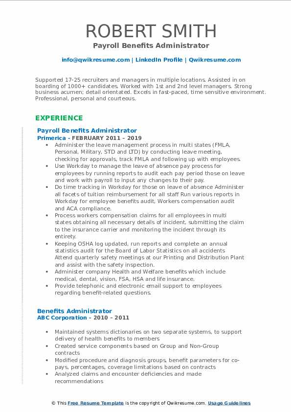 Payroll Benefits Administrator Resume Example