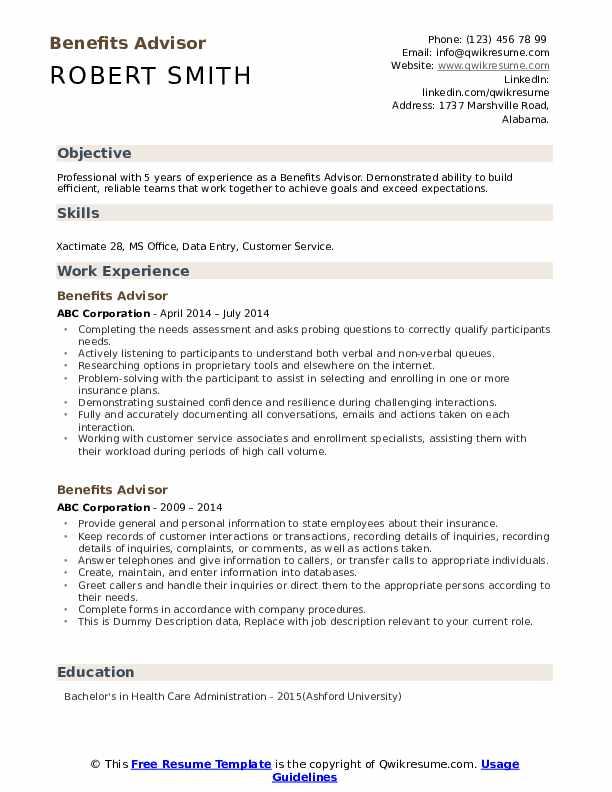 Benefits Advisor Resume example
