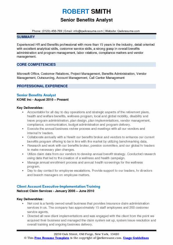 Benefits Analyst Resume Samples | QwikResume