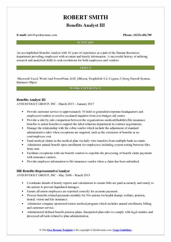 Benefits Analyst III Resume Example