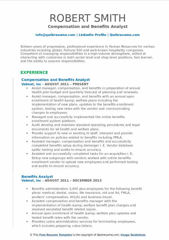 compensation and benefits analyst resume sle sle