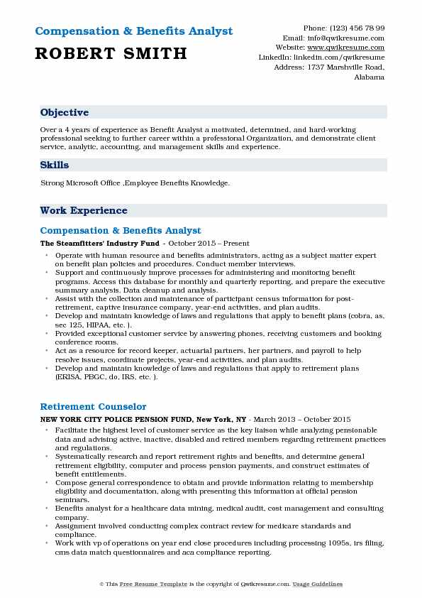Compensation & Benefits Analyst Resume Example