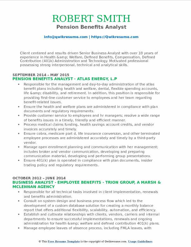 Pension Benefits Analyst Resume Model