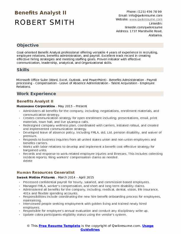 Benefits Analyst II Resume Format