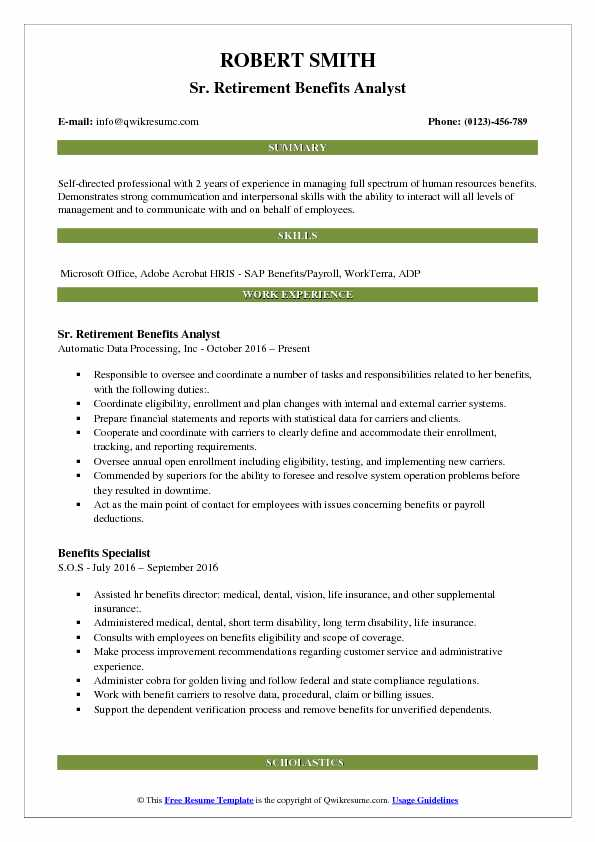 benefits analyst resume samples