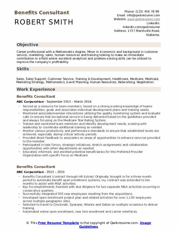 Benefits Consultant Resume Sample