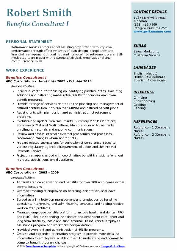 Benefits Consultant I Resume Format