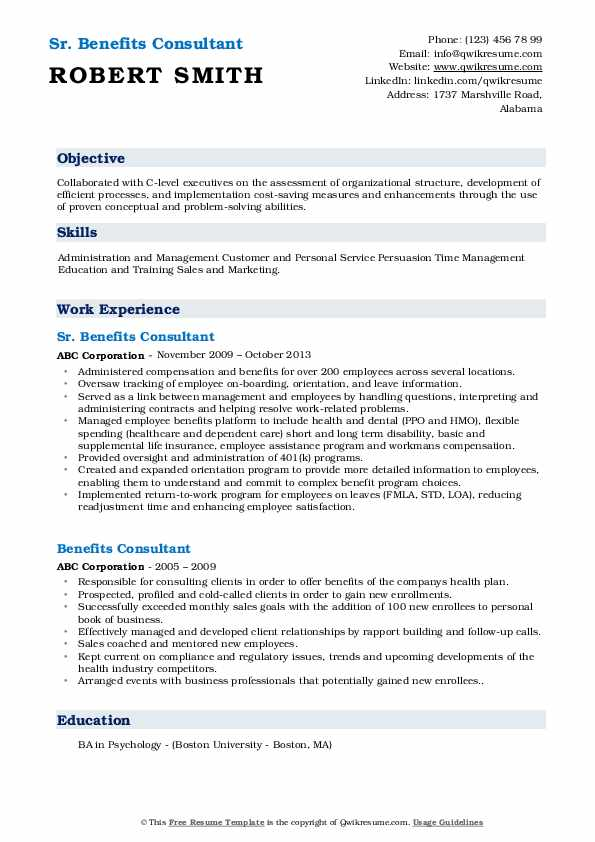 Sr. Benefits Consultant Resume Example