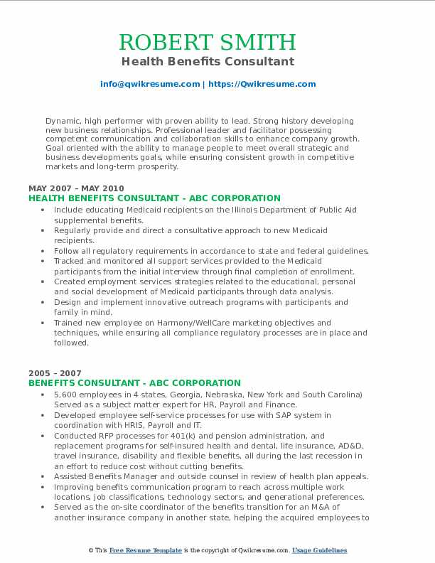 Health Benefits Consultant Resume Sample