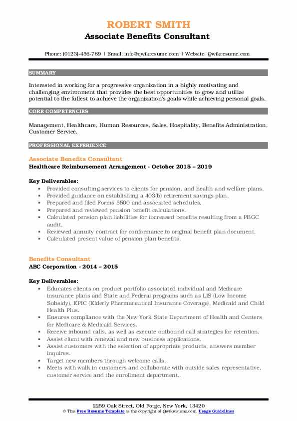 Associate Benefits Consultant  Resume Example