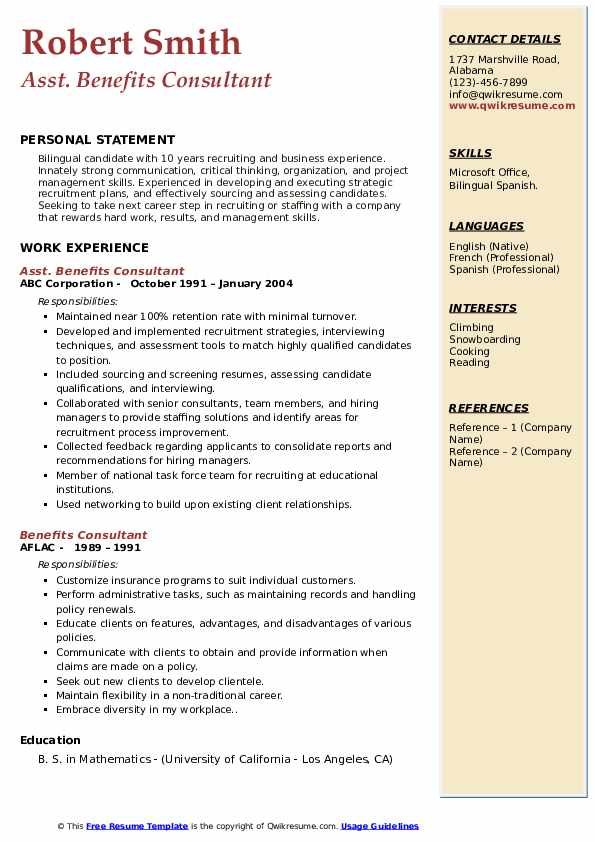 Asst. Benefits Consultant Resume Model