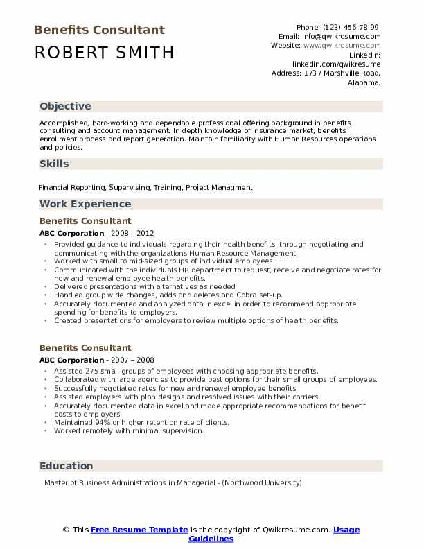 Benefits Consultant Resume example