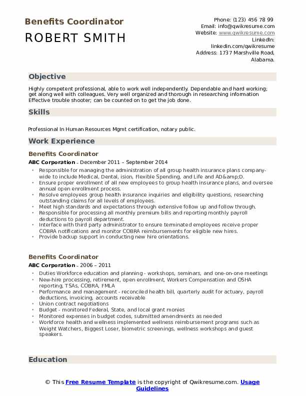 Benefits Coordinator Resume Format