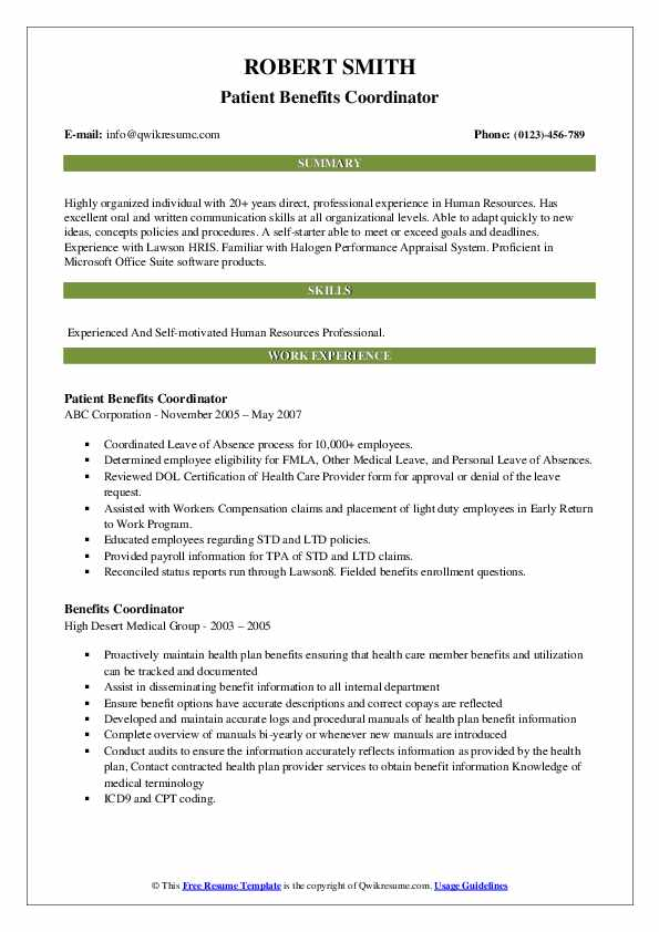 Patient Benefits Coordinator Resume Template