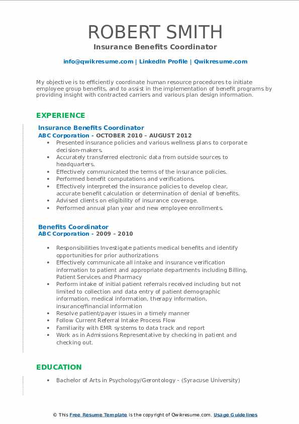 Insurance Benefits Coordinator Resume Format