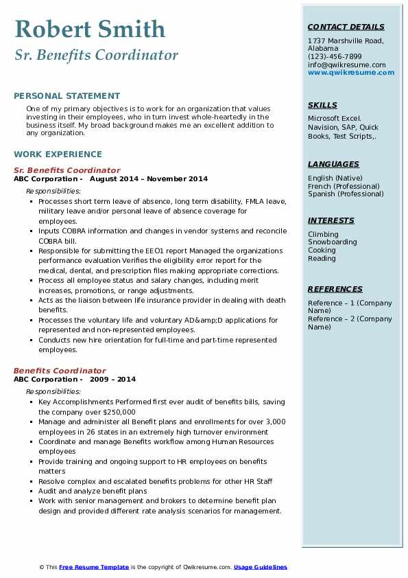 Sr. Benefits Coordinator Resume Example