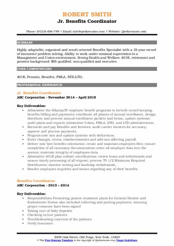 Jr. Benefits Coordinator Resume Format