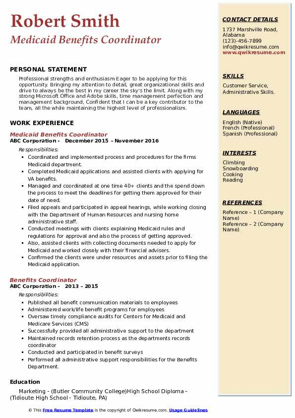 Medicaid Benefits Coordinator Resume Example