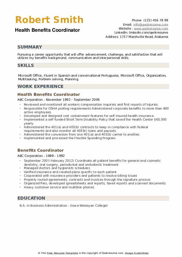 Health Benefits Coordinator Resume Format