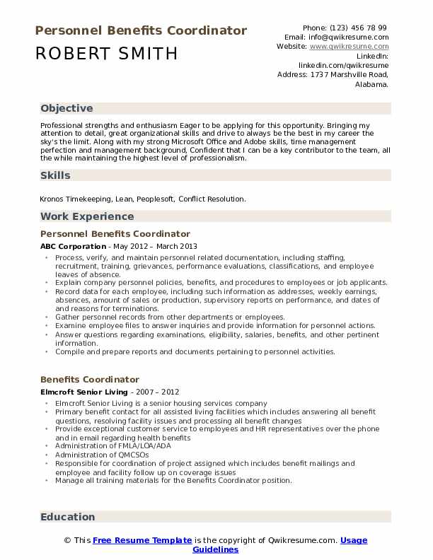 Personnel Benefits Coordinator Resume Format