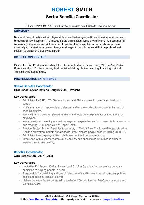 Senior Benefits Coordinator Resume Format