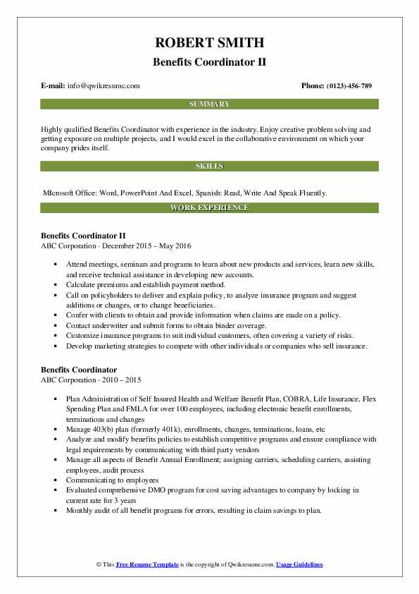 Benefits Coordinator II Resume Template