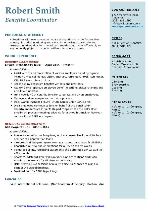 Benefits Coordinator Resume example
