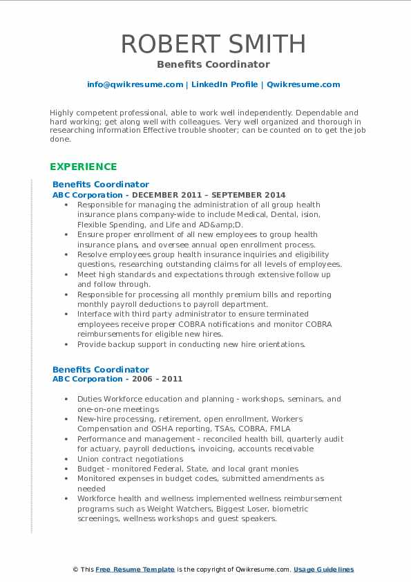 Human Resources Benefits Administrator Resume Template