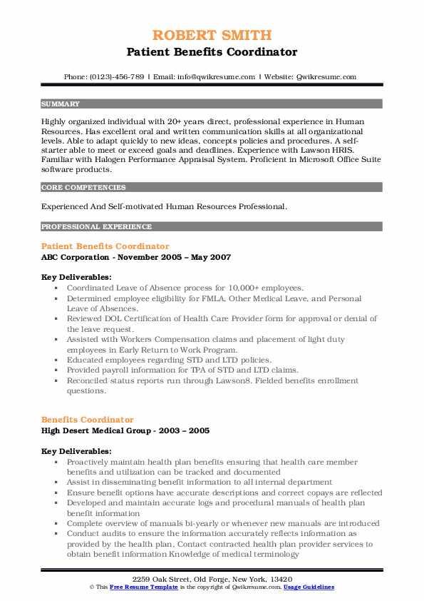 Benefits Administrator I Resume Model