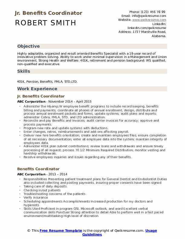 Payroll Benefits Specialist Resume Model