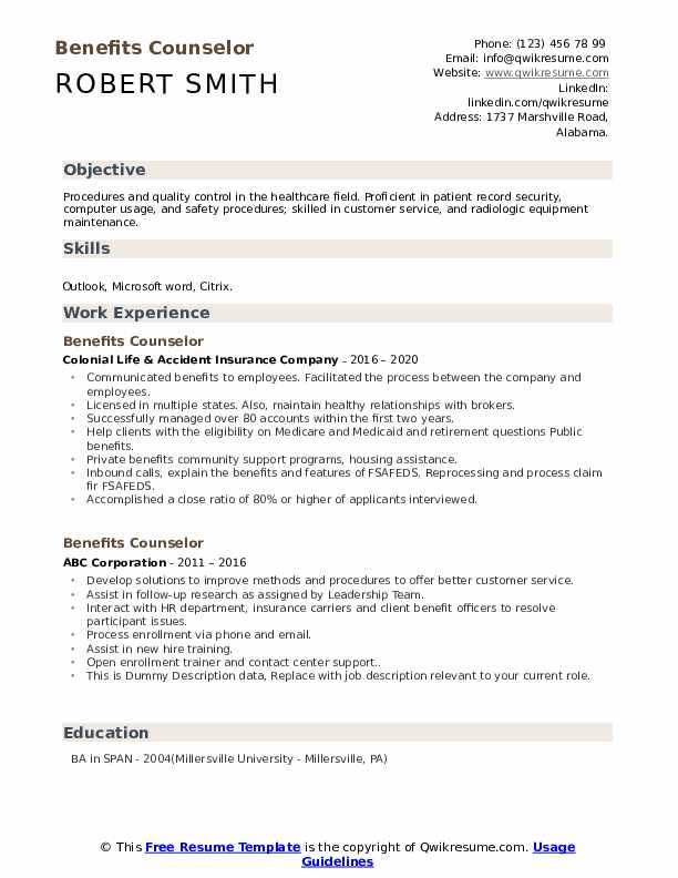Benefits Counselor Resume example