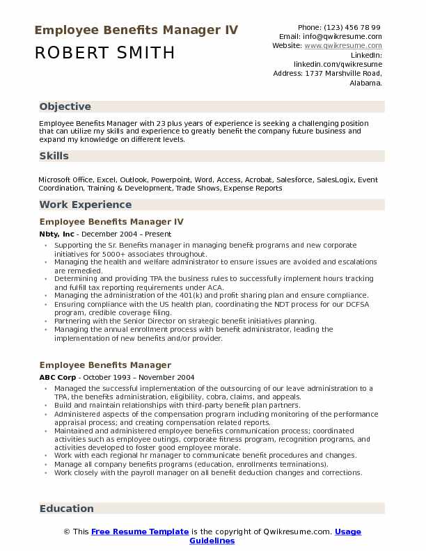 Employee Benefits Manager IV Resume Sample