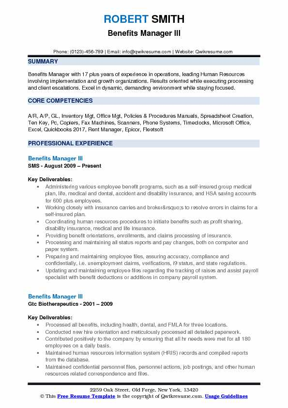 Benefits Manager III Resume Format