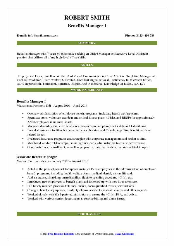 Benefits Manager I Resume Format