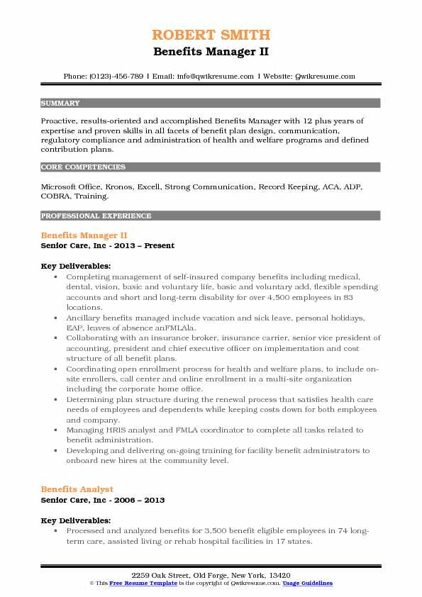 Benefits Manager II Resume Template