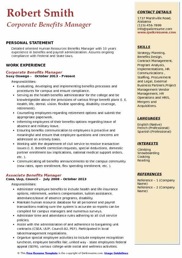 Corporate Benefits Manager Resume Format