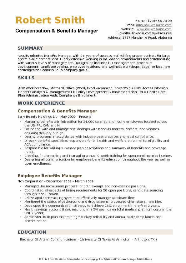 Benefits Manager Resume example