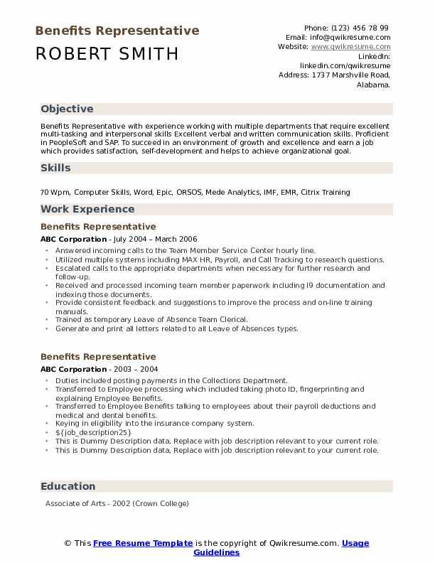Benefits Representative Resume example
