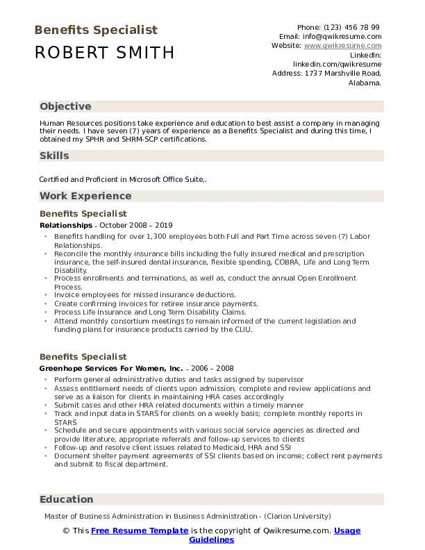 Benefits Specialist Resume Template