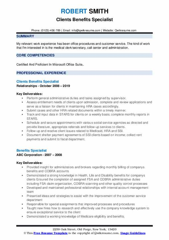 Clients Benefits Specialist Resume Template